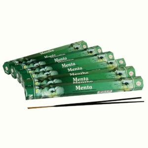 INCENSI  MENTA (marche assortite) ( 6 p. esag. X 20 sticks )