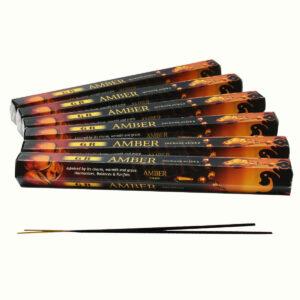 INCENSI  AMBRA  (marche assortite) ( 6 p. esag. X 20 sticks )