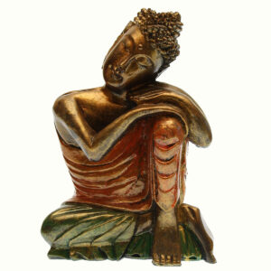 BUDDHA IN RESINA DIPINTA TESTA SUL GINOCCHIO CM 25