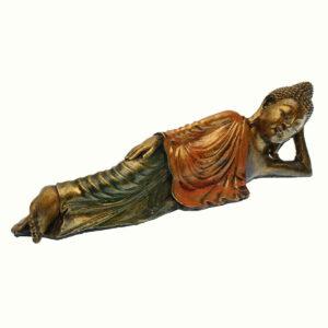 BUDDHA IN RESINA DIPINTA RECLINATO CM 30