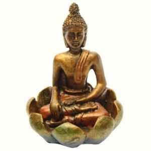 BUDDHA IN RESINA DIPINTA NEL LOTO CM 10