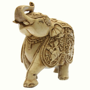 ELEFANTE IN RESINA CON MANTO DECORATO (cm 20)