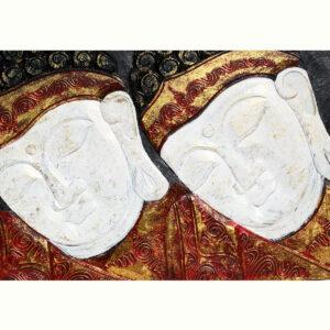 PANNELLO DOPPIO VISO DEL BUDDHA CON ORECCHINI ( CM 60 X 40 )