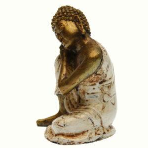 BUDDHA IN RESINA DIPINTA TESTA SUL GINOCCHIO CM 10