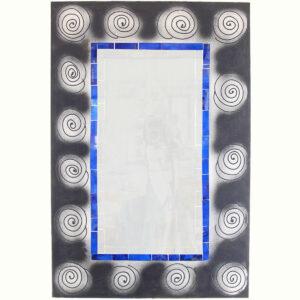 SPECCHIO SFUMATO CON SPIRALI E SPECCHIETTI ( CM 40 X 60 )