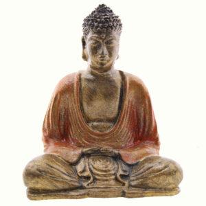 BUDDHA IN RESINA DIPINTA MEDITAZIONE CM 15