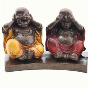 BUDDHA CINESE IN RESINA DIPINTA NON VEDO NON SENTO NON PARLO