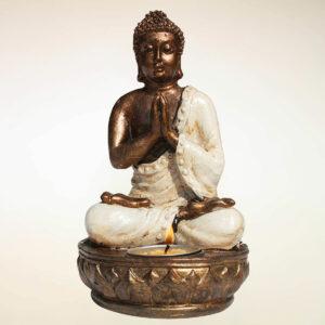 BUDDHA IN RESINA CON PORTACANDELE ( H CM 16 )