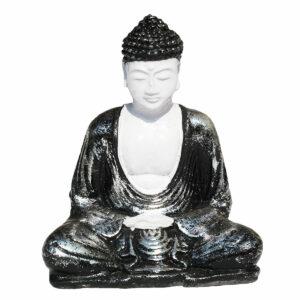 BUDDHA IN RESINA DIPINTA MEDITAZIONE NEW CM 15